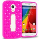 Motorola Moto G 2nd Gen 2014 Hot Pink / White Hybrid Diamond Bling Hard Soft Case Cover with Kickstand Angle 1