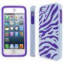 Apple iPhone 5 MPERO Tough Armor Purple and White Zebra Case Cover Angle 1