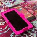 Motorola DROID ULTRA XT1080 MPERO 3 in 1 Tough Hot Pink Kickstand Case Cover Angle 4