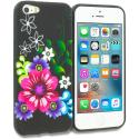 Apple iPhone 5/5S/SE Flowers on Black TPU Design Soft Rubber Case Cover Angle 1