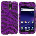 Samsung Skyrocket i727 Black / Purple Zebra Bling Rhinestone Case Cover Angle 1