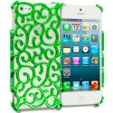 Apple iPhone 5/5S/SE Green Floral Crystal Hard Back Cover Case Angle 1