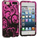 Apple iPod Touch 5th 6th Generation Black Swirls Hard Rubberized Design Case Cover Angle 1