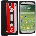 Samsung Galaxy S4 Black / Red Cassette Silicone Soft Skin Case Cover Angle 1