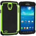 Samsung Galaxy S4 Active i537 Black / Neon Green Hybrid Rugged Hard/Soft Case Cover Angle 1