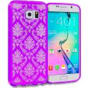 Samsung Galaxy S6 Purple TPU Damask Designer Luxury Rubber Skin Case Cover Angle 1