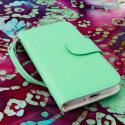 Samsung Galaxy S4 I9500 I905 L720 - Mint / White MPERO FLEX FLIP Wallet Case Angle 2