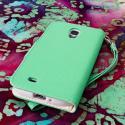 Samsung Galaxy S4 I9500 I905 L720 - Mint / White MPERO FLEX FLIP Wallet Case Angle 3