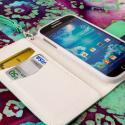 Samsung Galaxy S4 I9500 I905 L720 - Mint / White MPERO FLEX FLIP Wallet Case Angle 4