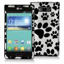 LG Splendor US730 Dog Paw Design Crystal Hard Case Cover Angle 1