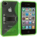 Apple iPhone 4 / 4S Neon Green TPU S-Line Case Cover with Stand Angle 3