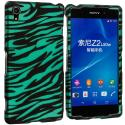 Sony Xperia Z2 Black/Baby Blue Zebra 2D Hard Rubberized Design Case Cover Angle 1