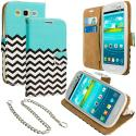 Samsung Galaxy S3 Mint Green Zebra Leather Wallet Pouch Case Cover with Slots Angle 1