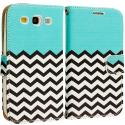Samsung Galaxy S3 Mint Green Zebra Leather Wallet Pouch Case Cover with Slots Angle 2