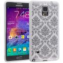 Samsung Galaxy Note 4 White TPU Damask Designer Luxury Rubber Skin Case Cover Angle 1