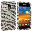 Samsung Epic Touch 4G D710 Sprint Galaxy S2 Silver / Black Zebra Bling Rhinestone Case Cover Angle 1