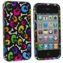 Apple iPhone 4 Colorful Skulls Design Crystal Hard Case Cover Angle 1