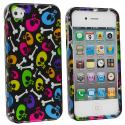 Apple iPhone 4 Colorful Skulls Design Crystal Hard Case Cover Angle 2