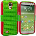 Samsung Galaxy S4 Red / Neon Green Hybrid Mesh Hard/Soft Case Cover Angle 1