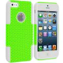 Apple iPhone 5/5S/SE White / Neon Green Hybrid Mesh Hard/Soft Case Cover Angle 1