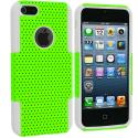 Apple iPhone 5/5S/SE White / Neon Green Hybrid Mesh Hard/Soft Case Cover Angle 2
