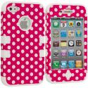 Apple iPhone 4 / 4S White / Pink Polka Dot Hybrid Tuff Hard/Soft 3-Piece Case Cover Angle 1
