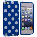 Apple iPod Touch 5th 6th Generation Navy Blue / White TPU Polka Dot Skin Case Cover Angle 1