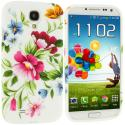 Samsung Galaxy S4 Flower Painting TPU Design Soft Case Cover Angle 1