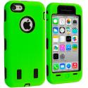Apple iPhone 5C Neon Green / Black Hybrid Deluxe Hard/Soft Case Cover Angle 1