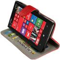 Nokia Lumia 929 Icon Red Leather Wallet Pouch Case Cover with Slots Angle 7
