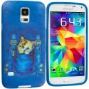 Samsung Galaxy S5 Kitty Cat Jeans TPU Design Soft Case Cover Angle 1