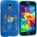 Samsung Galaxy S5 Kitty Cat Jeans TPU Design Soft Case Cover Angle 2