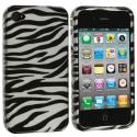 Apple iPhone 4 / 4S Black/Silver Zebra Design Crystal Hard Case Cover Angle 1