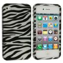 Apple iPhone 4 / 4S Black/Silver Zebra Design Crystal Hard Case Cover Angle 2