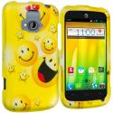 ZTE Radiant Smiley Face 2D Hard Rubberized Design Case Cover Angle 1