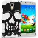 Samsung Galaxy S4 White / Black Hybrid Skull Hard/Soft Case Cover Angle 1