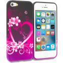 Apple iPhone 5/5S/SE Purple Love TPU Design Soft Rubber Case Cover Angle 1