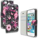 Apple iPhone 5/5S/SE Pink Butterfly Flower Design Wallet Flip Pouch Case Cover with Credit Card ID Slots Angle 1