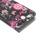 Apple iPhone 5/5S/SE Pink Butterfly Flower Design Wallet Flip Pouch Case Cover with Credit Card ID Slots Angle 3