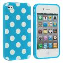 Apple iPhone 4 / 4S Baby Blue / White TPU Polka Dot Skin Case Cover Angle 1