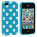 Apple iPhone 4 / 4S Baby Blue / White TPU Polka Dot Skin Case Cover Angle 2
