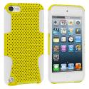 Apple iPod Touch 5th 6th Generation White / Yellow Hybrid Mesh Hard/Soft Case Cover Angle 1