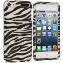Apple iPod Touch 5th 6th Generation Black / Silver Zebra Hard Rubberized Design Case Cover Angle 1