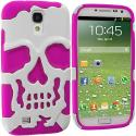 Samsung Galaxy S4 Hot Pink / White Hybrid Skull Hard/Soft Case Cover Angle 1