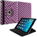 Apple iPad Mini Purple White Polka Dot 360 Rotating Case Cover Pouch Stand Angle 1