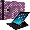 Apple iPad Mini Purple White Polka Dot 360 Rotating Case Cover Pouch Stand Angle 2