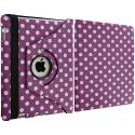 Apple iPad Mini Purple White Polka Dot 360 Rotating Case Cover Pouch Stand Angle 3