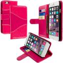 Apple iPhone 6 Plus 6S Plus (5.5) Hot Pink Crocodile Leather Wallet Pouch Case Cover with Slots Angle 1