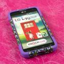 LG Optimus L90 - Purple Rainbow Leopard MPERO IMPACT X - Kickstand Case Angle 2