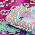 Kyocear Coast/ Kona - Mint Chevron MPERO SNAPZ - Rubberized Case Cover Angle 4